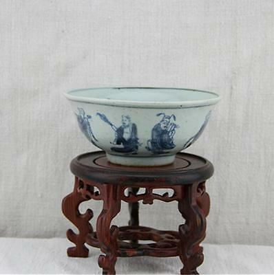 Chinese Qing blue and white Eight Immortals Porcelain bowl