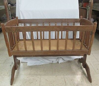 Vintage Sturdy WOODEN ROCKING BABY CRADLE For Pick Up Only (AD)