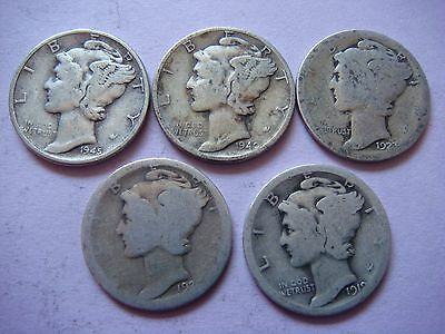 Lot of 5 Mercury Head Dimes very nice old coins 90% Silver  #9414