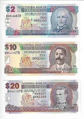 Barbados  2, 10, 20 Dollars,  Williams Sig Old Type    Nice Set Uncirculated