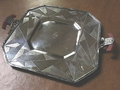 Art Deco Silver Plated Serving Tray with Bakelite Handles