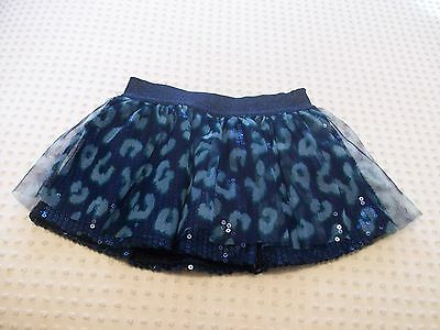 Justice Girls Size 5 Skort Skirt with Shorts Navy Blue with Sequins & Tulle NWOT