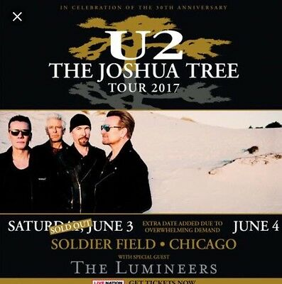 Two Club Tickets For U2 Joshua Tree Tour Concert 6/2/17 Soldier Field Chicago