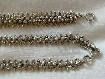 Antique Fully Hallmarked Solid Silver Necklace and Bracelet