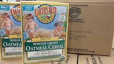 Earth`s Best Organic, Whole Grain Oatmeal Cereal, 8 Ounce (Pack of 4)