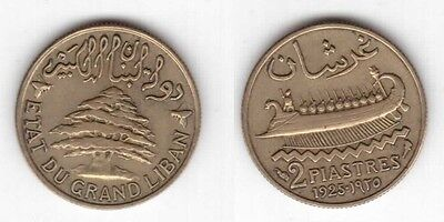 Lebanon Liban - Rare 2 Piaestres Coin 1925 Year Km#4 Ship
