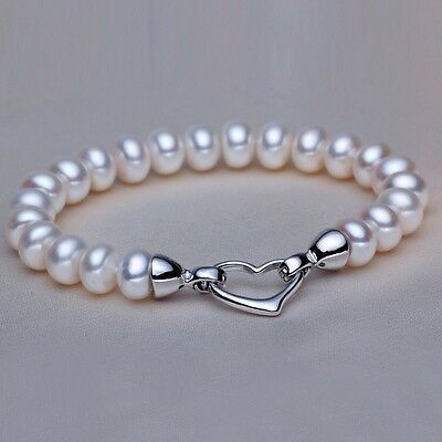 8-9mm Natural Freshwater White Pearl Bracelet With Sterling Silver Heart Clasp