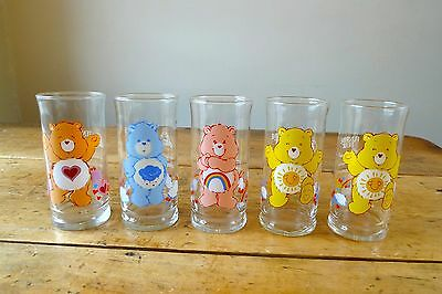 Set of 5 Care Bears 1983 Pizza Hut Collector's series glasses complete
