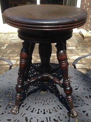 Vintage Antique Holtzman Piano Stool with Glass Claw Ball Feet & Partial Sticker