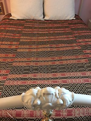 "Antique Woven Coverlet Bedspread in Beige Pink Brown  86"" x 86"""