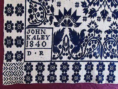 "Antique Dated 1840 And Signed ""john Kaley - D.r.""  Jacquard Coverlet Section"