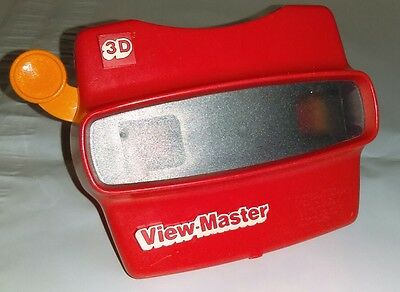 Viewmaster 3D Viewer Red with Orange Lever Made in USA by Tyco VIEW-MASTER