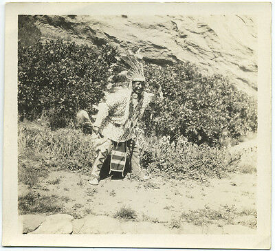 Native American Vintage Photo Indian Outfit Headdress June 22, 1933 Original
