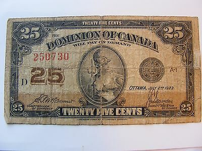 Nice CANADA  25 Cents  1923  FREE SHIPPING