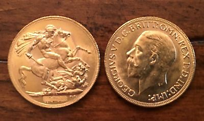 Gold Sovereign King George V Coin