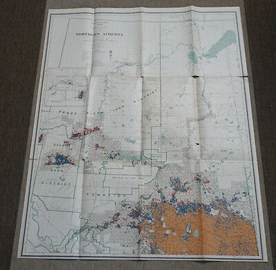 Large  Antique 1914  Map of Northern Alberta  Canada  Disposition of Land