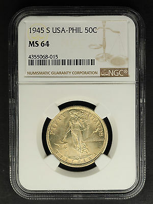 1945-S USA-Philippines Silver 50 Centavos NGC MS-64 -160444