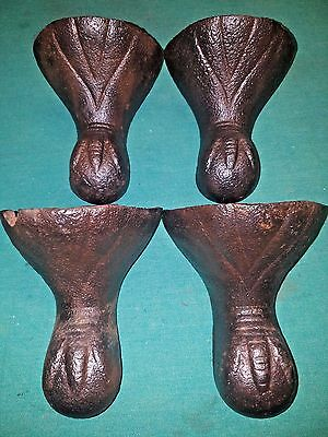 4 Antique Victorian Eagle Claw Foot Bathtub Tub Feet Cast Iron Vintage STEAMPUNK