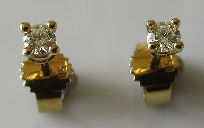 18ct gold brilliant round cut diamond (0.05ctx2) stud earrings (Pierced ears).