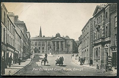 Co TYRONE - OMAGH VINTAGE PCARD - POST OFFICE & COURT HOUSE - VALENTINE JV53717