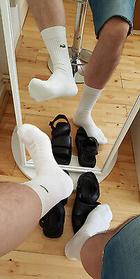 Lacoste White Ankle Sports Socks - Lads Mens UK Size 7-11 - Ultra Rare - Great!