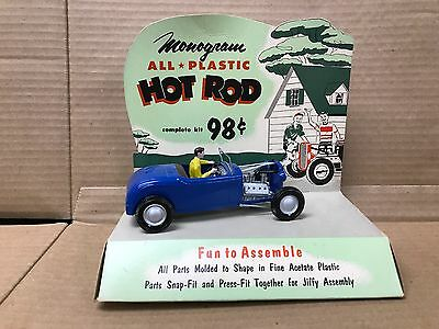 Vintage Original 1955 Monogram 1/24 Scale 1960's Plastic Hot Rod Store Display