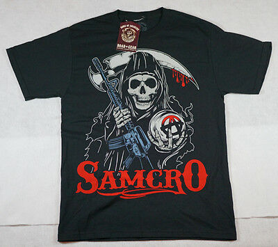 Men's T-Shirt Sons of Anarchy Black Reaper SAMCRO Red New with Tags Medium