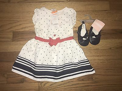 Infant Girls Gymboree Dress 6-12 Months And Size 3 Shoes, New!