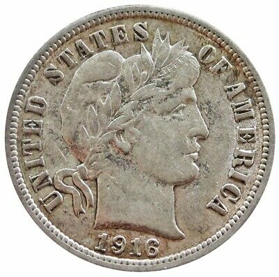 1916 Silver United States Barber Dime Coin About Uncirculated Condition