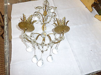 "Vtg  Florentine Gold Crystal Candle Sconce Made In Italy w/metal tag 11""Hx8""W"