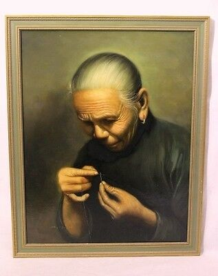 Beautifully Executed Oil Painting on Canvas; Elderly Woman Threading a Needle