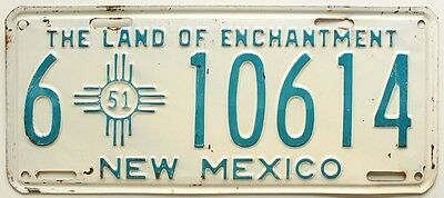 Vintage New Mexico 1951 License Plate, 10614, Lea County, Old West Antique
