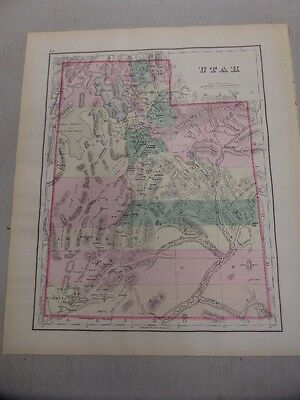 1874 Map of Utah, with Montana, Idaho and Wyoming on the Reverse