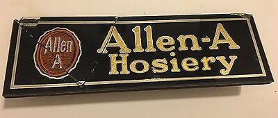 Rare Vintage Allen-A Hosiery Advertising Glass Sign Store Counter Display