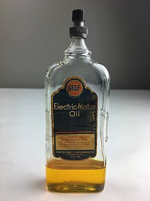 Vintage Gulf Electric-Motor Oil In 4 Oz. Glass Bottle