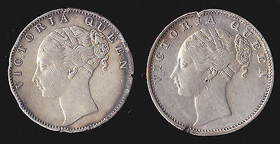 Pair- British East India Co. 1840 1 Rupee KM 457.12 RARE 34 Berries Silver coins