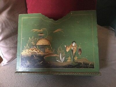 Rare Victorian Green Japanned Magazine or Newspaper Rack,Figural & Garden Scenes