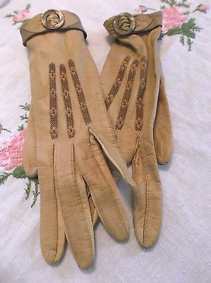 Vintage 60's Mod French Women's leather driving gloves embroidered buttons