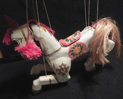 Handmade Wood Horse Marionette Puppet Yoke thé Toy Jointed Burma Folk Art Asia