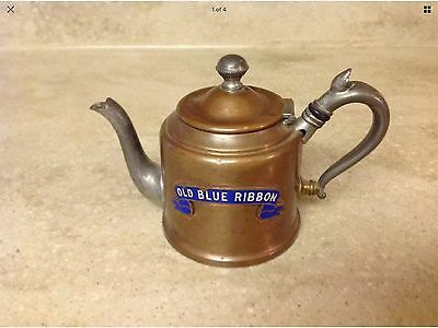 Old Blue Ribbon Whiskey Copper Tea Kettle Manning & Bowman