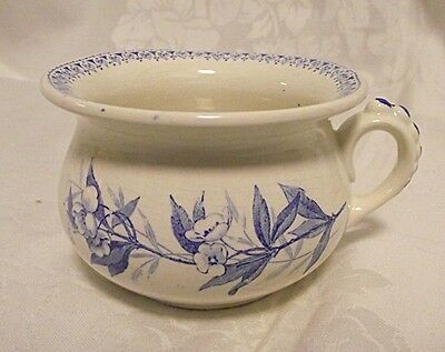 SALESMANS SAMPLE Antique Vtg Ironestone w/ Blue Transfer Chamber Pot