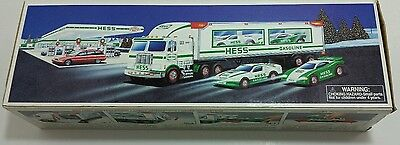 New Hess 1997 Toy Truck And Racers With Friction Motors And Lights Collectable