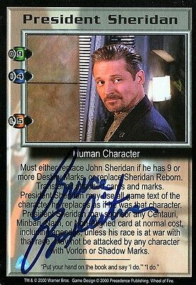 BABYLON 5 CCG Bruce Boxleitner WHEEL OF FIRE President Sheridan TC AUTOGRAPHED