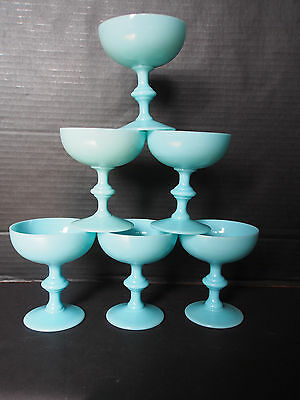Lot 6 Portieux Vallerysthal PV Blue Opaline Champagne Martini Goblets Stem Glass
