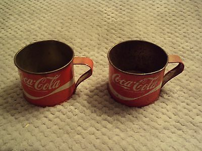 Vintage Coke Cola Tin Cups ----Set Of Two ----