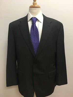 $2,998 Canali Men's Italian Made Brown Striped 100% Wool Suit 42R 36x29