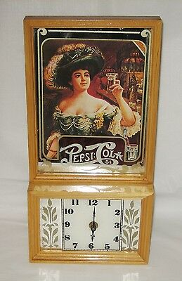 VINTAGE Pepsi Cola Wall Clock - Quartz - Battery Operated - Wood Frame