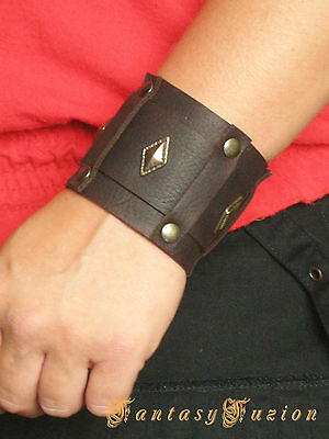Steampunk Fantasy Medieval Lord Leather Bracer Cuff
