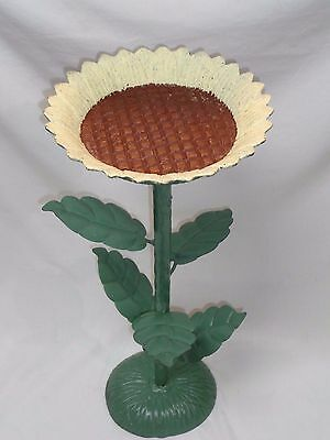 Vtg CAST IRON SUNFLOWER STAND Bird Seed Feeder Pan Antique Garden Art Decor