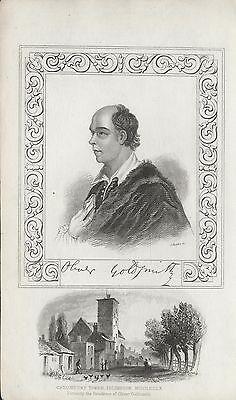 OLIVER GOLDSMITH - ORIGINAL 19th CENTURY ANTIQUE STIPPLE ENGRAVING c.1800s